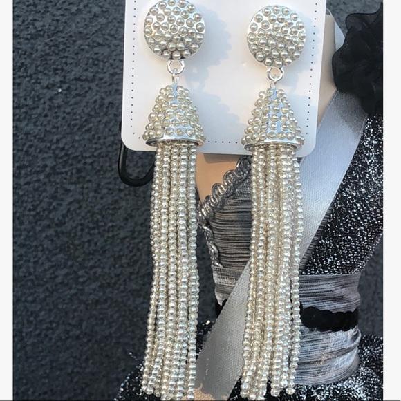 Beautiful Beaded Drop Earrings Silver Base